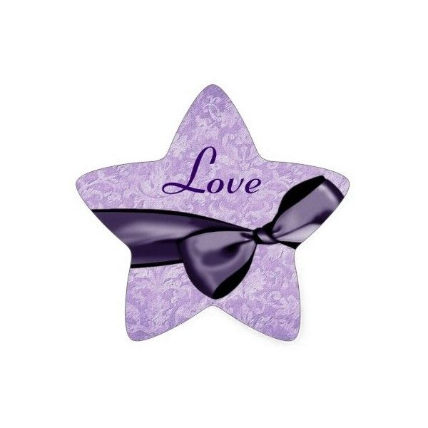 Purple LOVE Wedding Bow Damask Star Sticker (7.62 CAD) ❤ Liked On Polyvore  Featuring Home, Home Decor, Office Accessories, Purple, Purple Office ...
