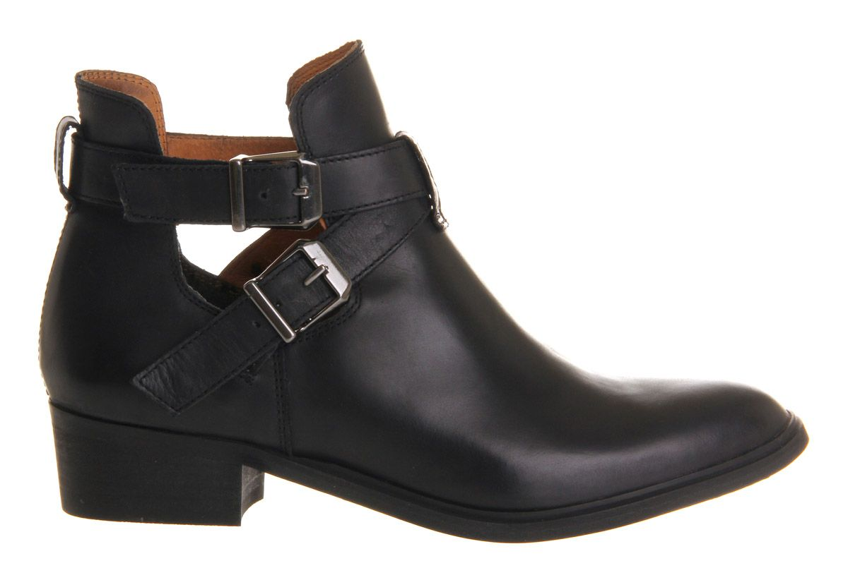 Office Bronson Cut Out Black Leather Ankle Boots