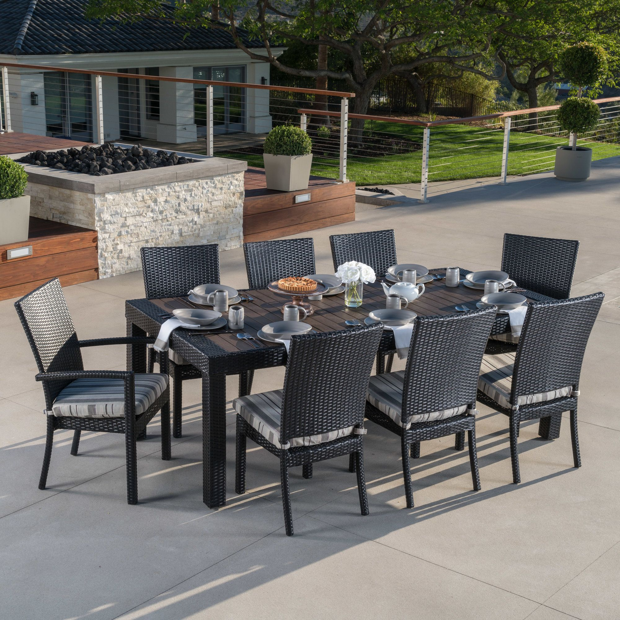 9 Piece Outdoor Dining Set Evansville 9 Piece Outdoor Dining Set With Cushion Pinterest