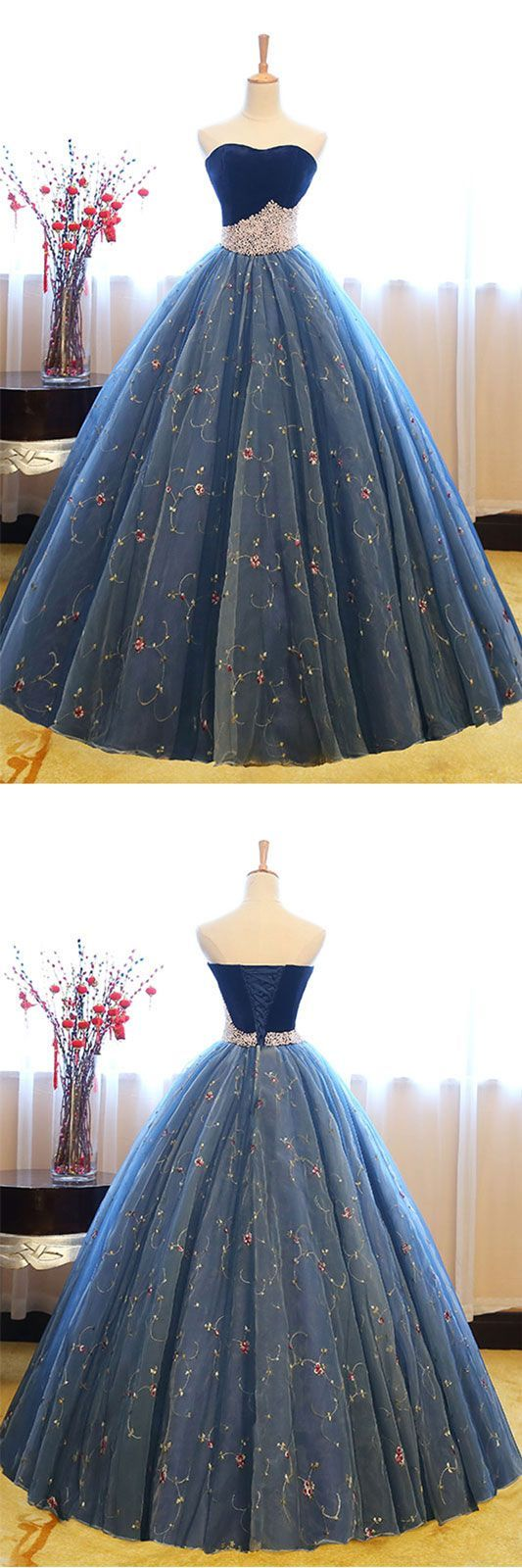 Blue sweetheart neck tulle long prom gown blue sweet dress