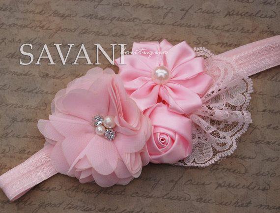 Baby girl headband,Pink lace headband, baby headband, shabby chic hair accessories, newborn headband
