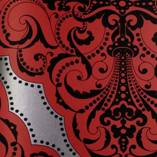 Astek Mood Living Fiona Dark Brick Red Black And Silver Wallpaper Black And Silver Wallpaper Silver Wallpaper Polka Dots Wallpaper