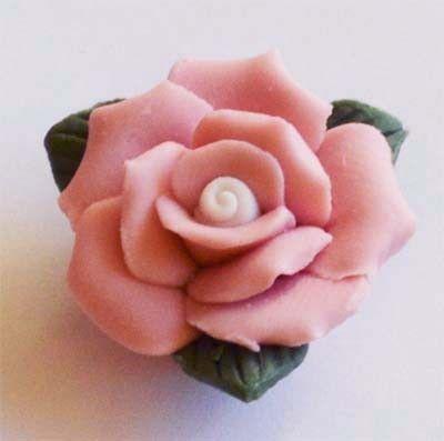 Keramiikka kukka 23x11mm vaaleanpunainen, 1 kpl