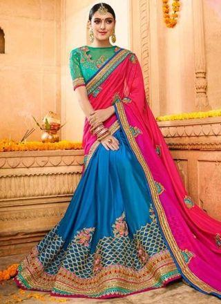Magenta Blue Embroidery Work Silk Designer Fancy Wedding Half Sarees http://www.angelnx.com/Sarees/Wedding-Sarees