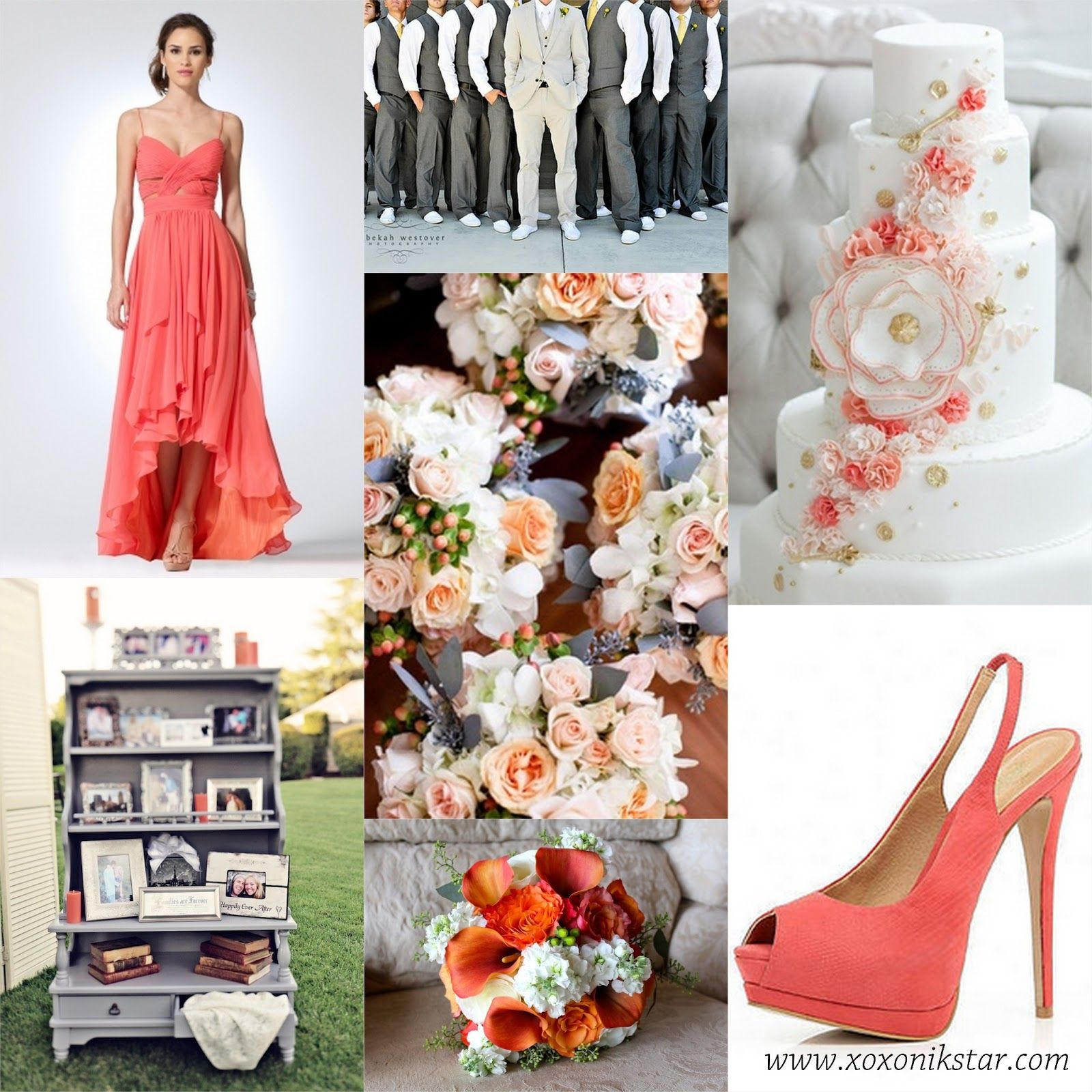 Grey Wedding Ideas: Coral And Gray Wedding Colors And Inspiration. Perfect For