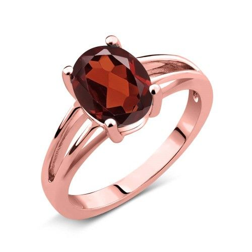 2.85 Ct Red Oval Garnet and Rose Gold Plated Sterling Silver Ring, Women's, Size: 6