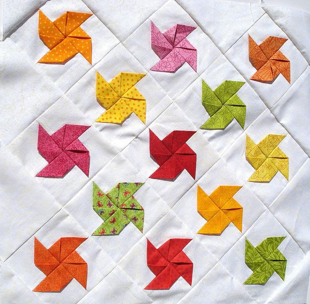 fruit sherbet pinwheel mini quilt by tramtadam, via Flickr