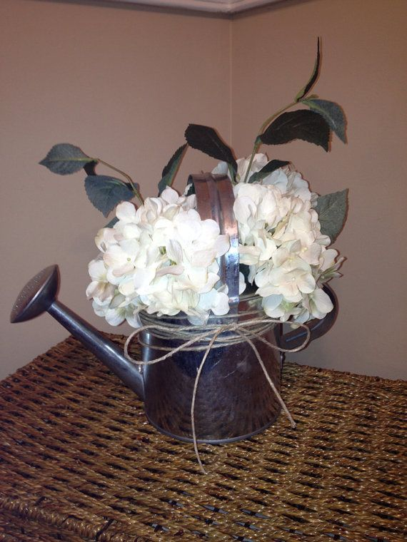 Rustic Wedding Centerpiece Silver Galvanized by thebeezeknees