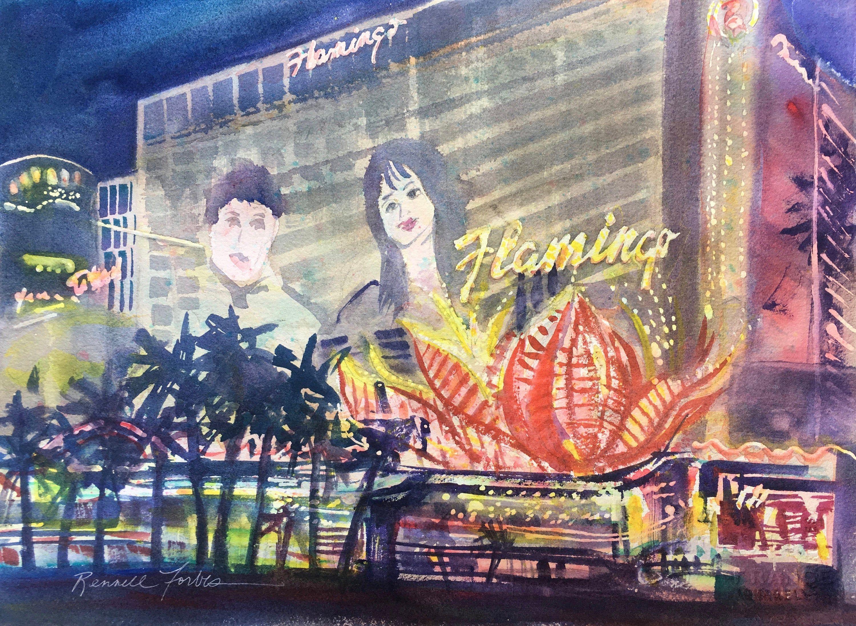 Las vegas flamingo hotel original watercolor vegas city