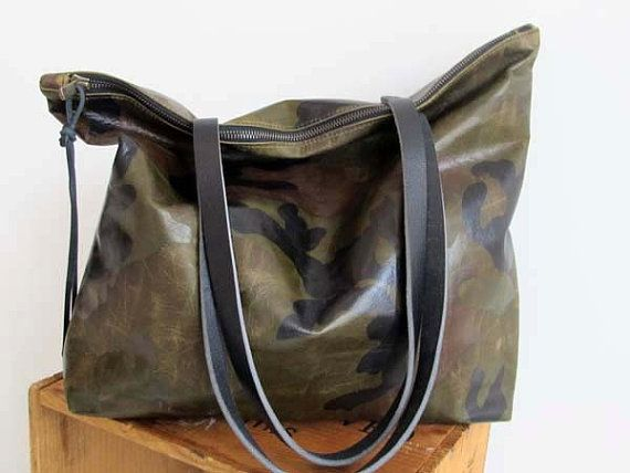 c920db33d0eb Huge Sale -Camouflage Leather Tote Bag with zipper