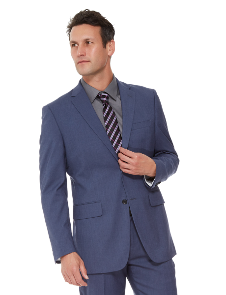This single breasted jacket is a European fit. It stretches and moves with your body for maximum range of motion. Features a notched lapel and twin back vents. There are three internal pockets, two front flap pockets and a breast pocket. #NewandNow