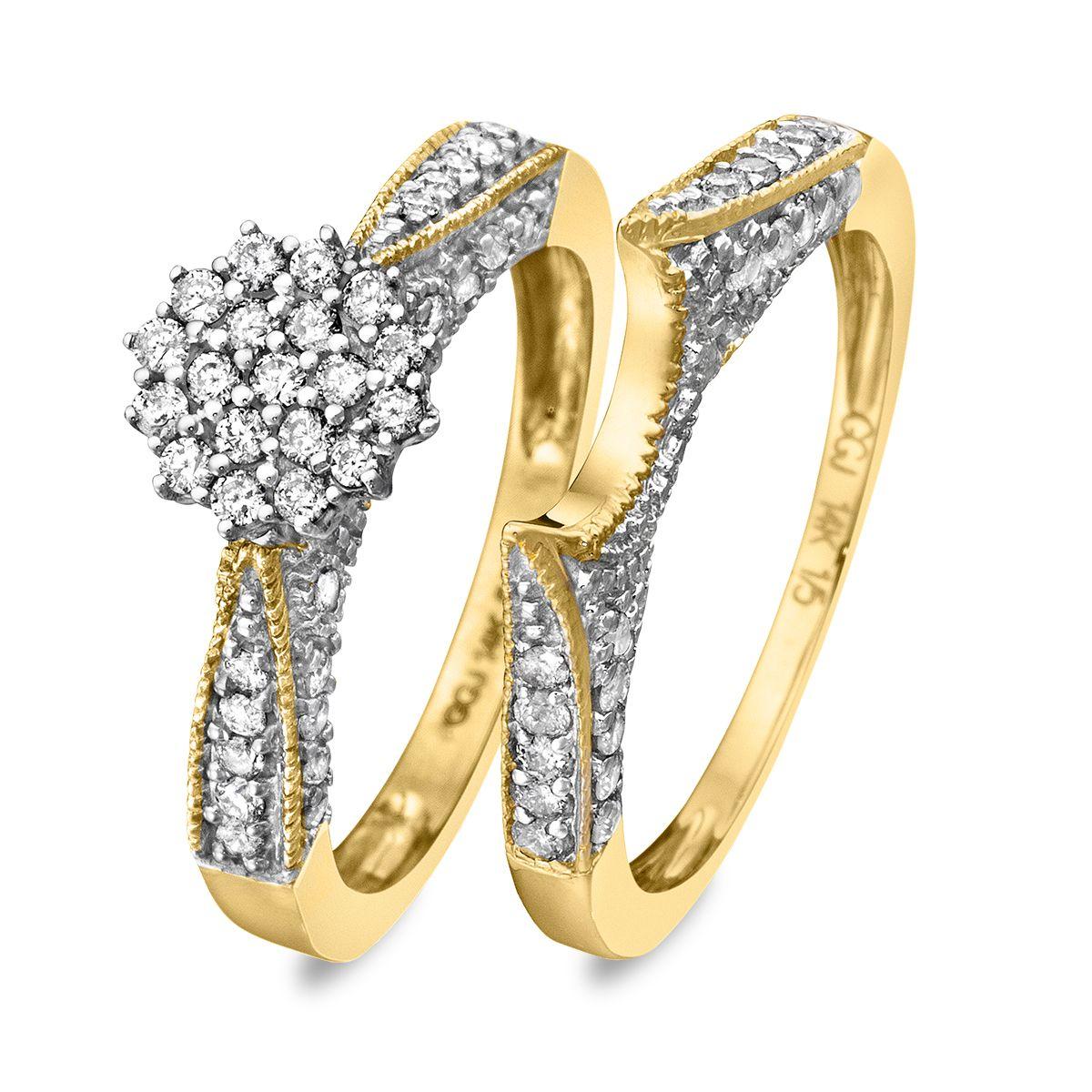 34 carat diamond bridal wedding ring set 14k yellow gold