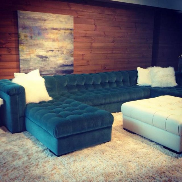 Double Chaise Sectional In A Teal Velvet With Tufting All Over