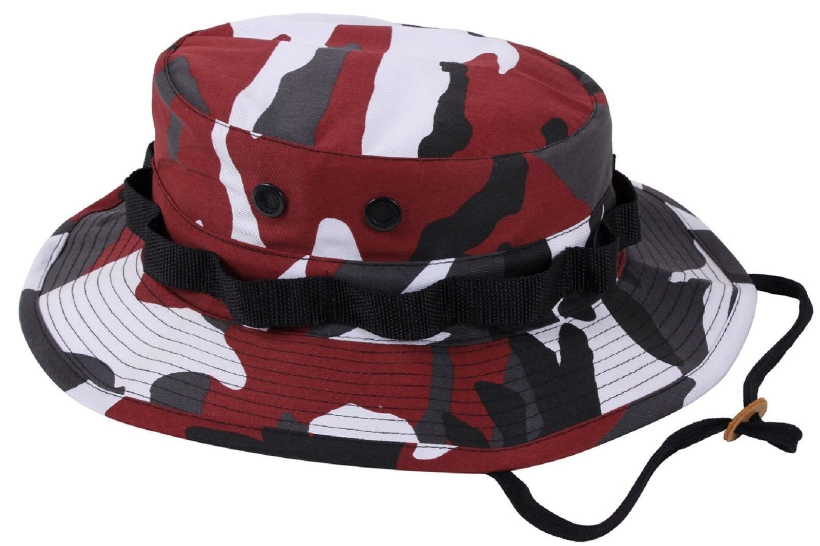Red   Black Camouflage Boonie Bucket Hat w  Chin Strap S - XL Rothco 5548 61e3041b4a8