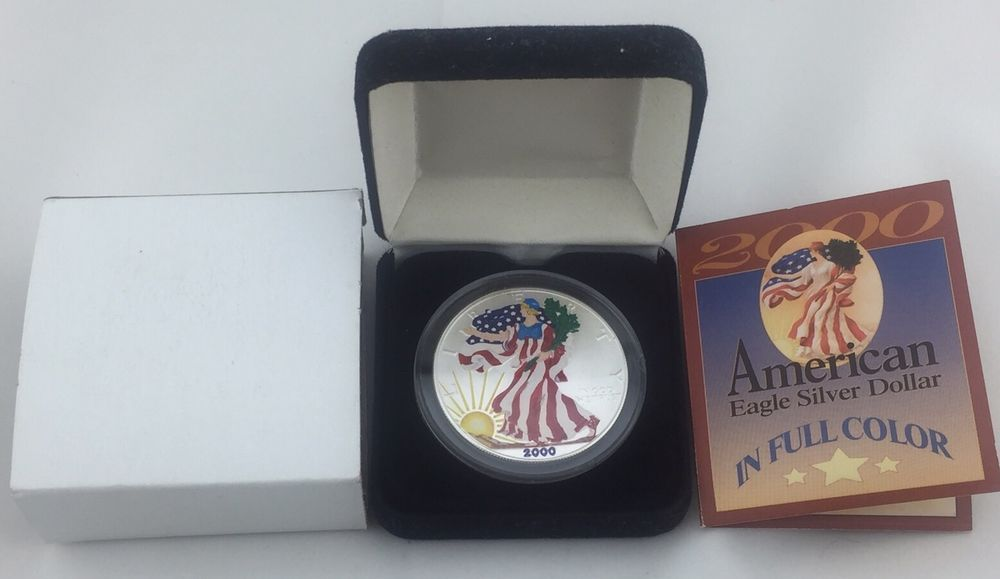 2000 Painted Walking Liberty American Eagle One Dollar Coin 1 Oz Silver Bullion Silver Bullion Bullion Silver Bars