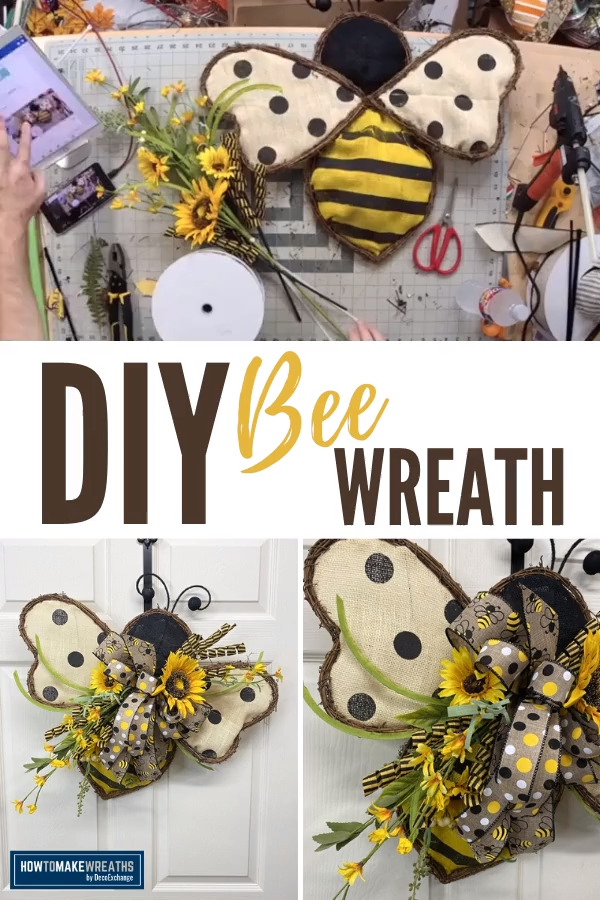 Simple and quick DIY Bee Wreath perfect for Spring and Summer! #howtomakewreaths #decoexchange #wreath #springdecor #summerdecor #wreathmaking