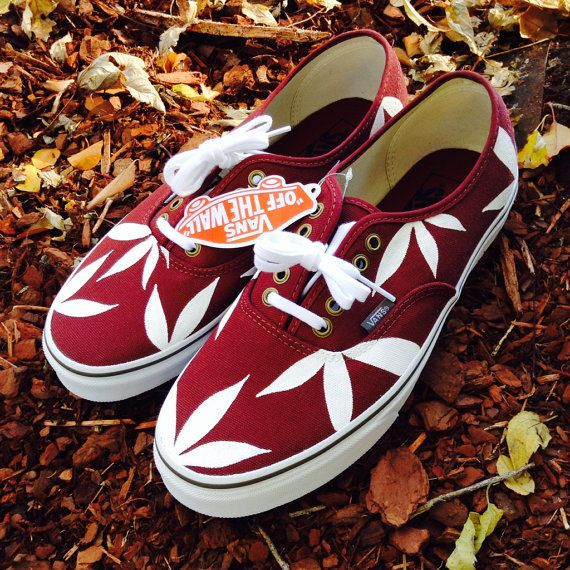 3ce4a7a37e Weed Leaf Custom Vans  Maroon White by ISMapparel on Etsy