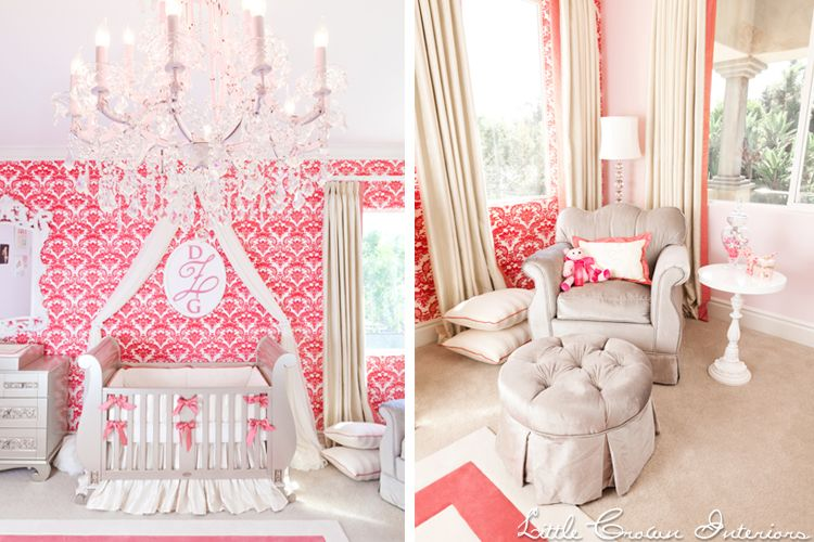 C And Ivory S Nursery By Little Crown Interiors Featuring A Silver Crib Velvet Glider