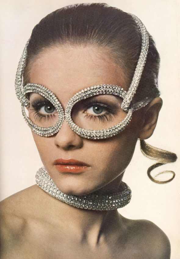 vintage glasses#Rhinestone spectacles and collar are by Halston of New York