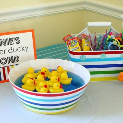 Sesame Street Birthday Party Games Ernies Rubber Ducky Pond Where Kids Could Get A Prize That Has The Same Number On Bottom Of Duck They Pick