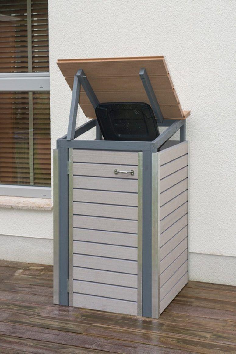 mülltonnenbox selber bauen: endzustand mit offenem deckel | diy garten