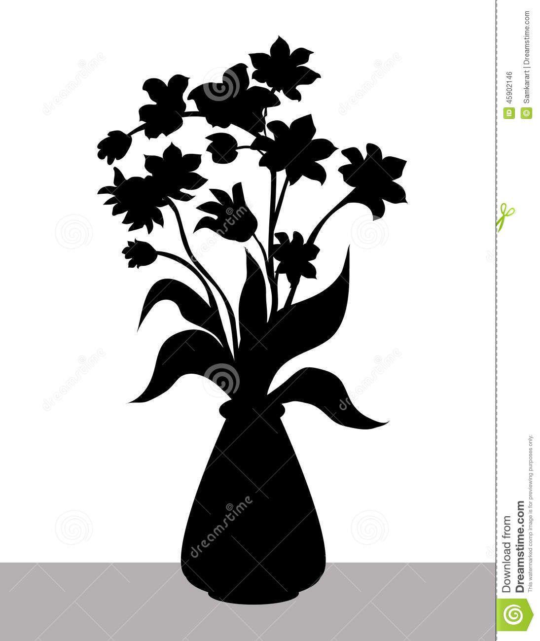 Flowervasesilhouettevectorillustrationg