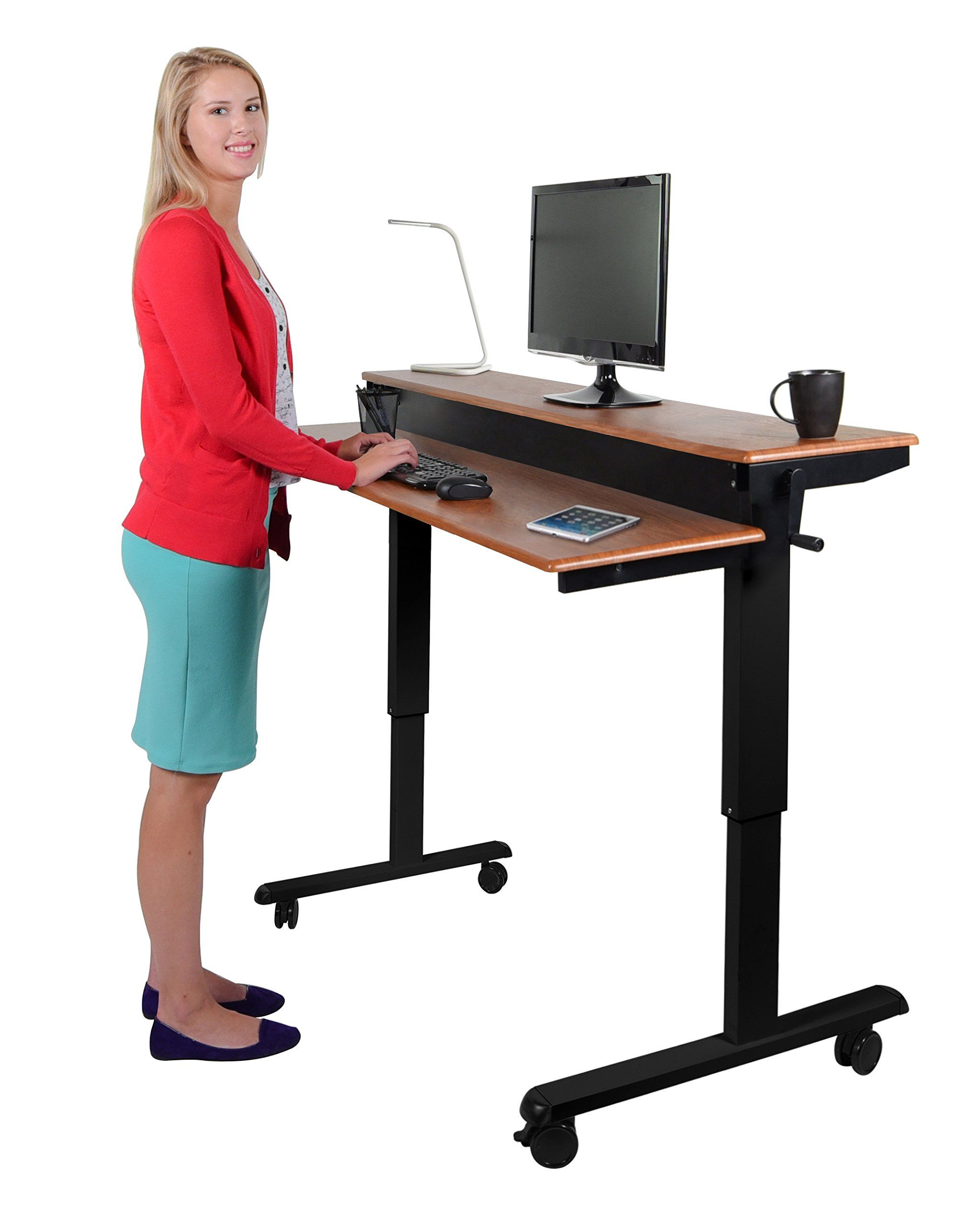 Crank Adjustable Sit to Stand Up Desk with Heavy Duty Steel Frame ...