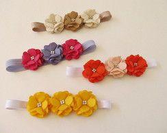 faixa headband elástico bebe com flor