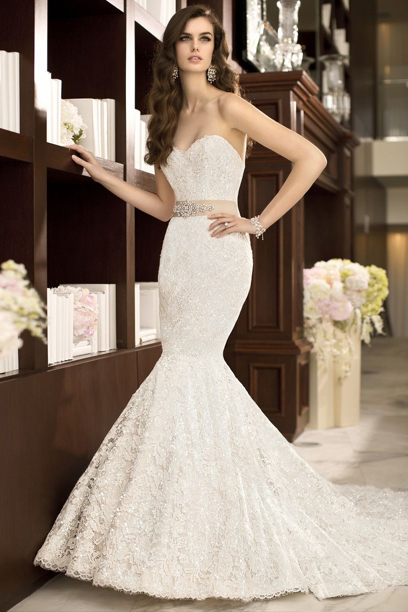 Bring on the bling in this modern lace over satin trumpet silhouette