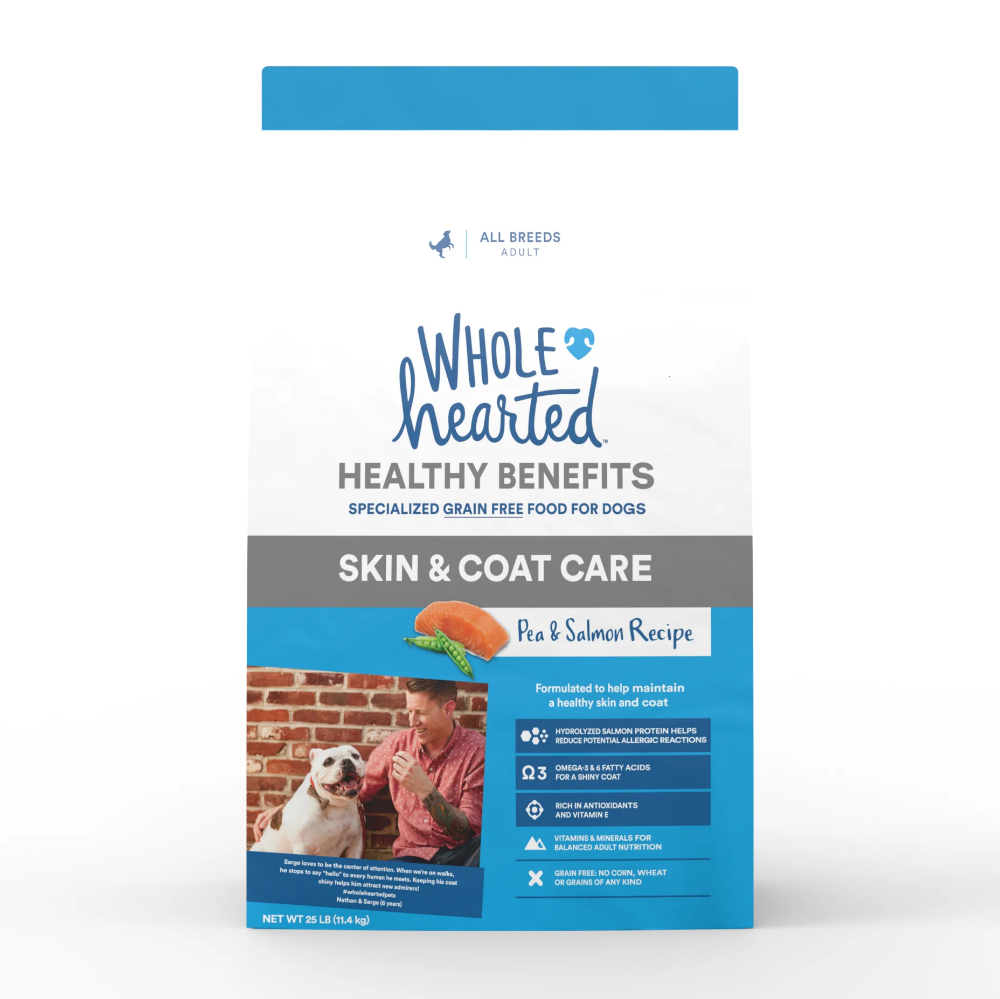 Wholehearted Grain Free Skin And Coat Care Pea And Salmon Recipe Dry Dog Food 25 Lbs Petco In 2020 Dog Food Recipes Dry Dog Food Salmon Recipes