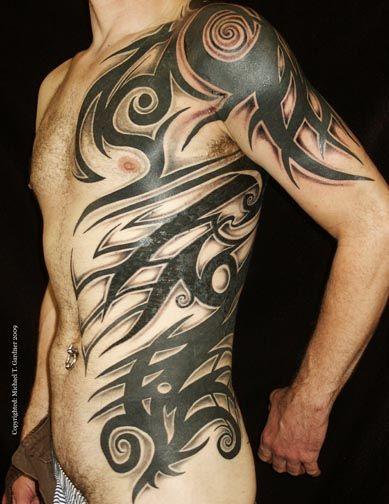 Custom tribal half torso tattoo tattoos by michael t for Tribal body tattoo
