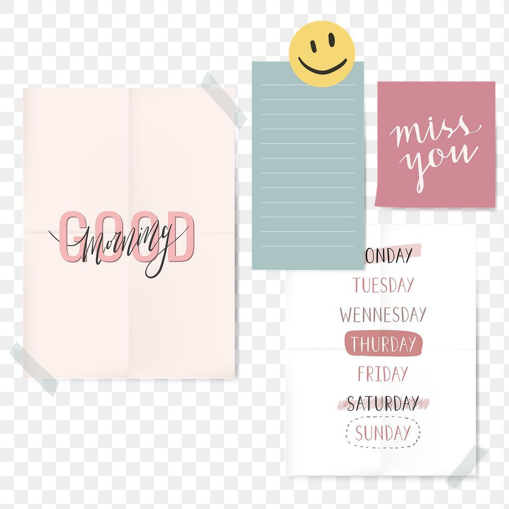 Cute Png Daily Notes On Transparent Background Free Image By Rawpixel Com Aum In 2021 Free Illustrations Transparent Background Backgrounds Free