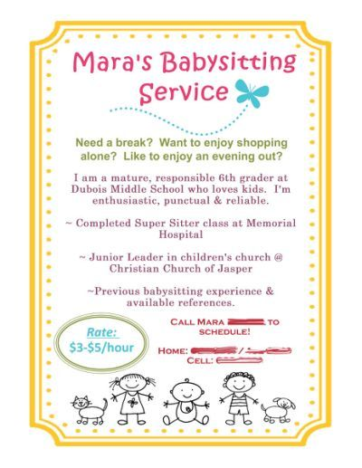 Babysitting Flyer using MDS! Baby sitting Pinterest - babysitter on resume