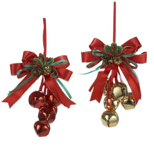 Merry Christmas Tree Decor Gold Bell With Red Bows Xmas Ornament