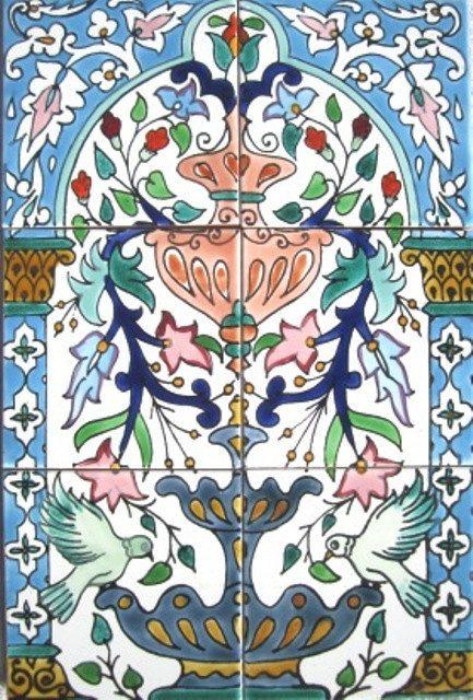 MOSAIC PANEL HAND PAINTED KITCHEN BATHROOM WALL ART DECORATIVE CERAMIC TILES
