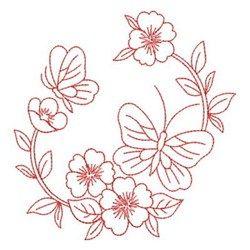 Redwork Floral Wreath embroidery design