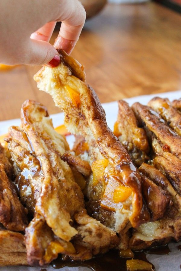 Peach Pull-Apart Bread with Caramel Sauce - The Food Charlatan