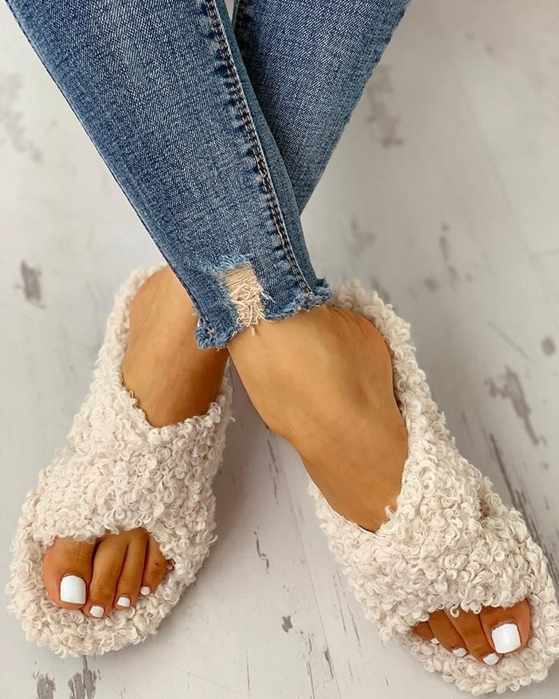 Solid Fluffy Crisscross Design Flat Sandals | Fashion shoes
