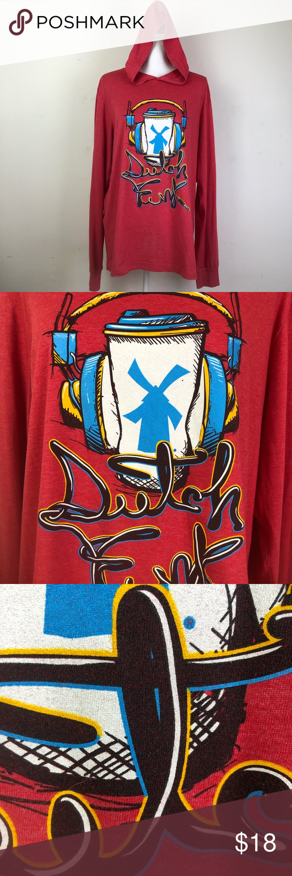 Dutch Bros Light Weight Hooded Long Sleeve TShirt Dutch Bros Light Weight Hooded Long Sleeve TShirt Graphic Tee size Large in excellent condition Dutch Bros. Shirts Tees - Long Sleeve #dutchbros