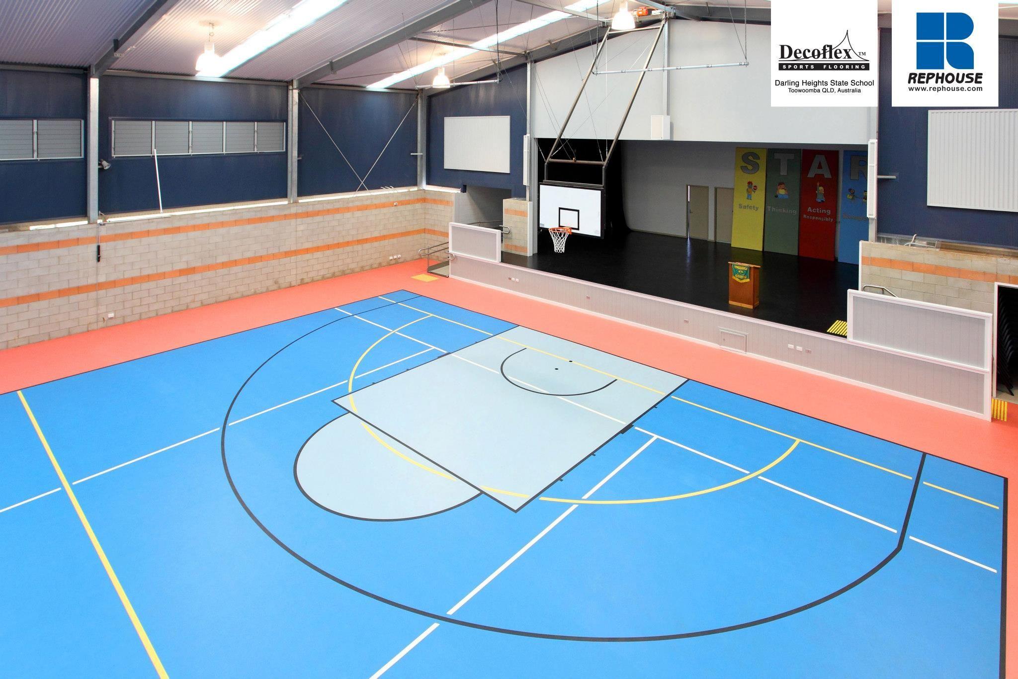 Decoflex Universal Seamless Polyurethane Indoor Sports Flooring Darling Heights State School Australia Indoor Sports State School Australia