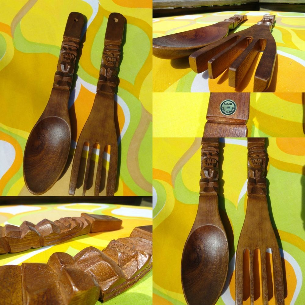 VTG 1960s Retro Wooden Tiki Fork and Spoon Hanging Kitchen Wall Art ...