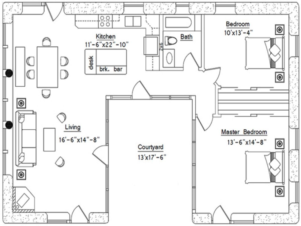U Shaped House Plans With Courtyard Pool Central Kitchen Floor Plan Burger Modern Under 100k Interio U Shaped House Plans U Shaped Houses Courtyard House Plans