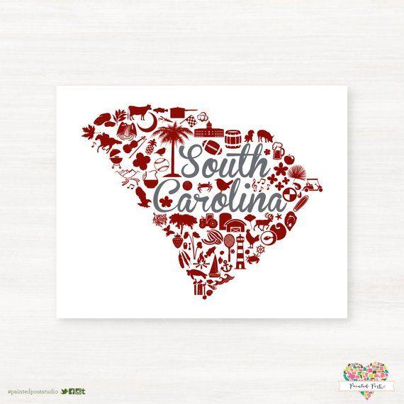 Charleston South Carolina Landmark State Giclée Print 8x10 Red