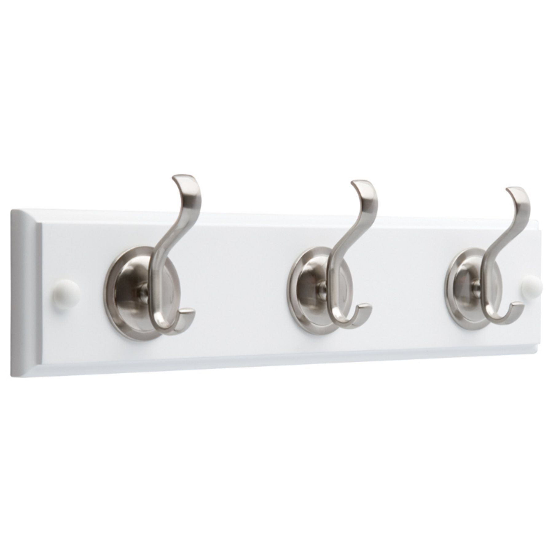 f95f146157c Liberty Hardware 14 in. Hook Rack with 3-Coat and Hat Hooks - Flat White   Satin  Nickel - 133074