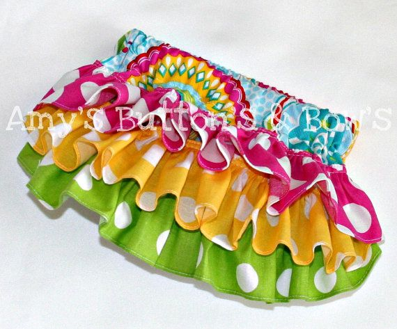 Hot Pink yellow lime polka dot ruffle bloomers diaper by amwoo254, $32.00