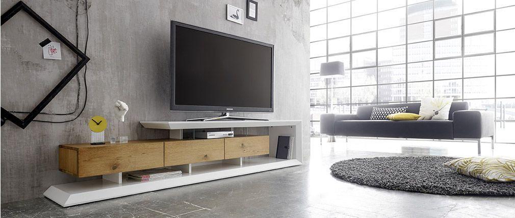 Meuble Tv Design Rituel Laque Blanc Et Bois Pas Cher Meuble Tv Miliboo Iziva Com Meuble Tv Design Meuble Tv Tv Design