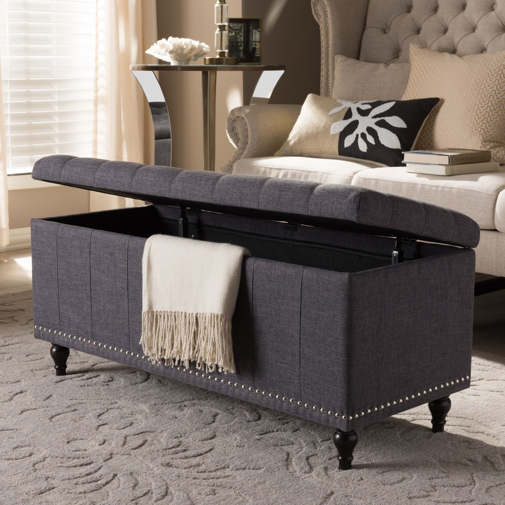 Enjoyable Baxton Studio Alexio Modern Classic Dark Grey Fabric Inzonedesignstudio Interior Chair Design Inzonedesignstudiocom