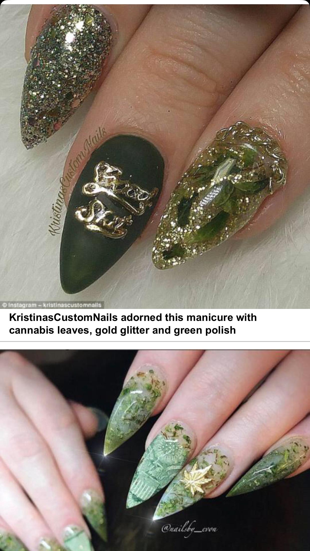 Uñas de Marijuana | weed | Pinterest | Dope nails and Nail inspo