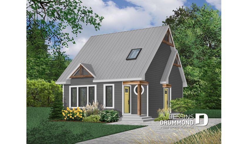 Version couleur no 2 - Vue avant - Plan de maison style chalet 4 - Plan De Maison Originale