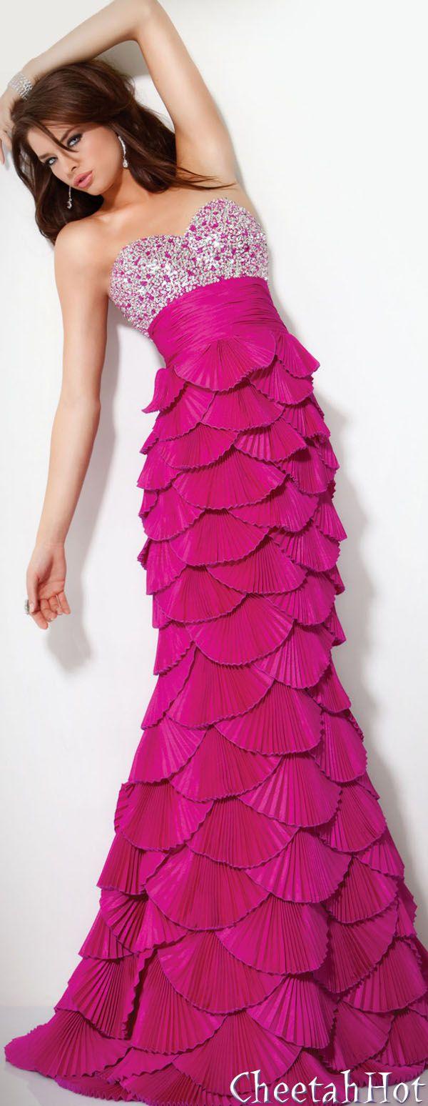 JOVANI - Authentic Designer Dress - Lovely Strapless Gown - Fuchsia ...